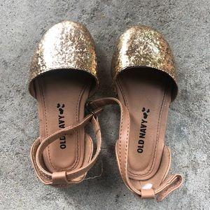 Old Navy Gold Glitter Sandal Flats Toddler Size 7